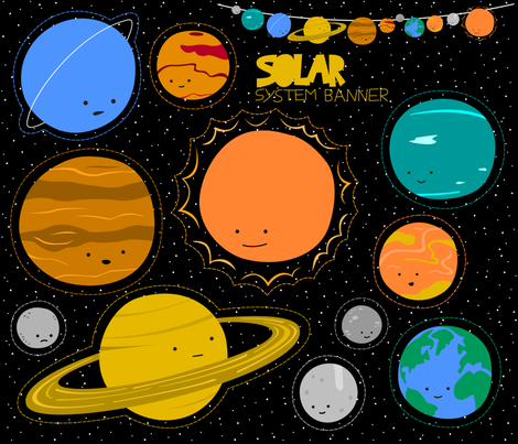 Solar System Banner fabric by wildolive on Spoonflower - custom fabric