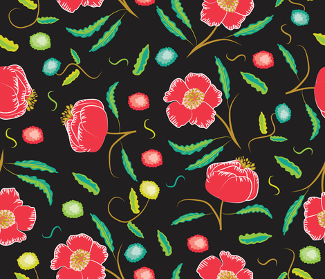 poppies on black fabric by naomibroudo on Spoonflower - custom fabric