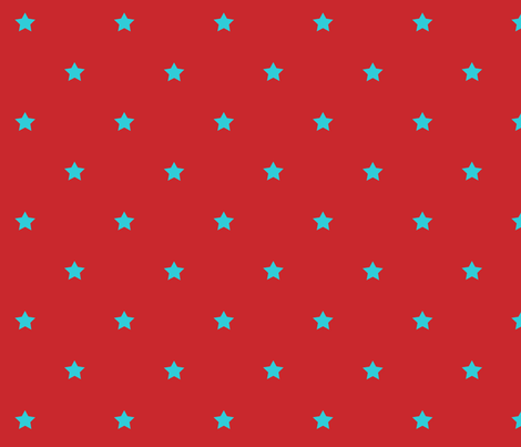 STARS_red_turquoise fabric by yvonne_herbst on Spoonflower - custom fabric