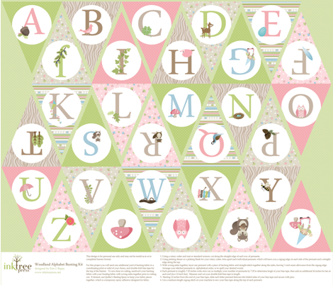 Pink Woodland Alphabet Bunting fabric by inktreepress on Spoonflower - custom fabric