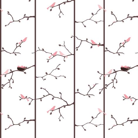 Bird Forest-Pink fabric by ttoz on Spoonflower - custom fabric