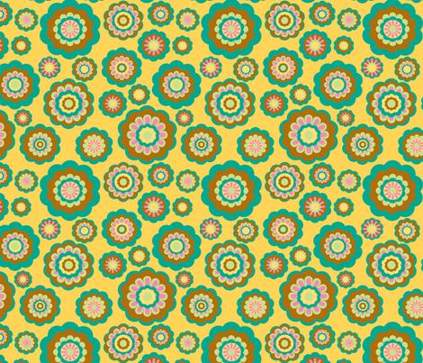 retro woodland flowers on yellow fabric by uzumakijo on Spoonflower - custom fabric