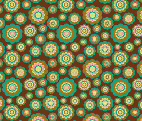 retro woodland flowers on brown fabric by uzumakijo on Spoonflower - custom fabric