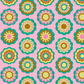 retro flowers on pink - large rows