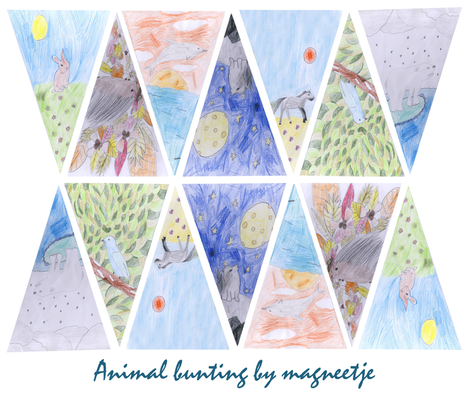 animal bunting by 10yrs old Magnelette fabric by magneetje on Spoonflower - custom fabric
