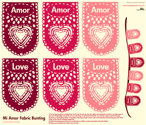 Mi Amor, My Love Fabric Papel Picado banner fabric by featheredneststudio on Spoonflower - custom fabric