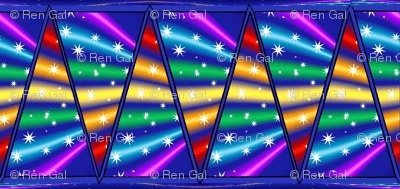 Rainbow w/ Stars Flags Bunting Banner