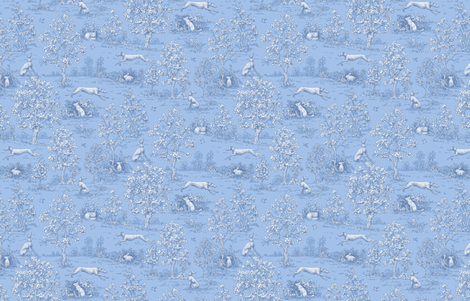 Soft Blue Reverse Greyhound Toile de Jouy ©2010 by Jane Walker fabric by artbyjanewalker on Spoonflower - custom fabric