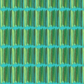 mini green stripes in teal