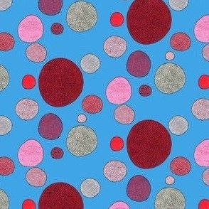 mini red and gray dots in blue
