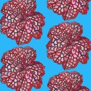 mini red leaf in light blue