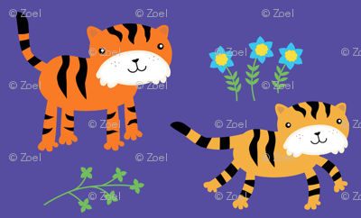 Happy Tigers with Blue Flowers