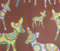 retro woodland deer on brown