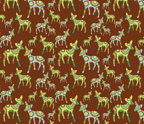 retro woodland deer on brown fabric by uzumakijo on Spoonflower - custom fabric