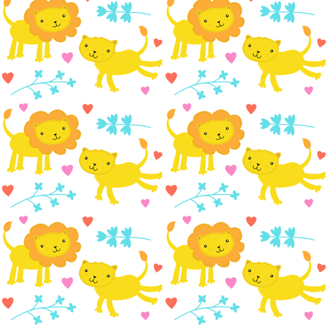 Valentine Lions fabric by zoel on Spoonflower - custom fabric