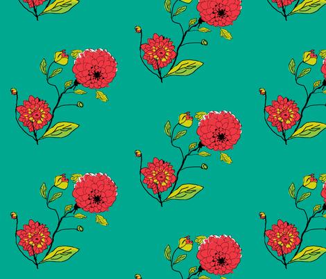 Dahlias in My Garden_ fabric by khowardquilts on Spoonflower - custom fabric
