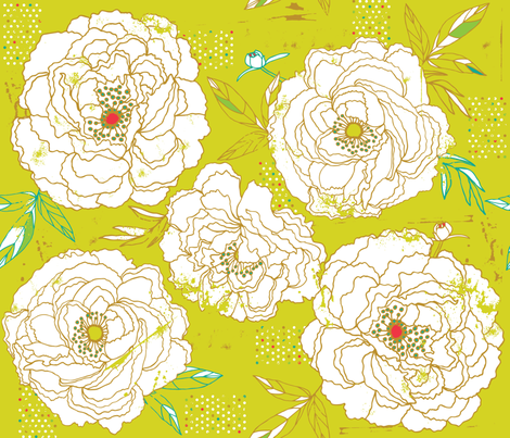 Paris Peonies fabric by cynthiafrenette on Spoonflower - custom fabric