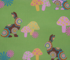 retro woodland bunnies on green