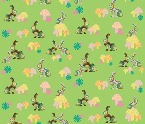 retro woodland bunnies on green fabric by uzumakijo on Spoonflower - custom fabric