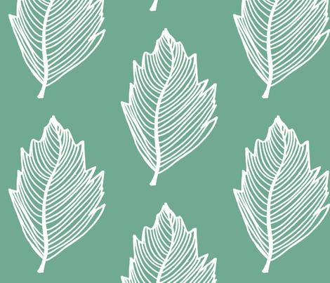 teal leaf fabric by designkat on Spoonflower - custom fabric