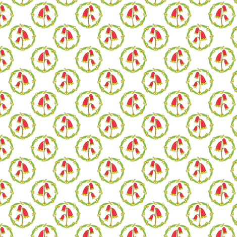 Miniature Floral Rosette Medallions on White fabric by rhondadesigns on Spoonflower - custom fabric