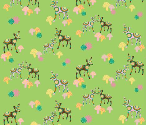 retro woodland deer and mushrooms on green fabric by uzumakijo on Spoonflower - custom fabric
