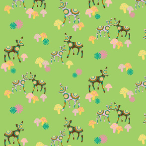 retro woodland deer and mushrooms on green