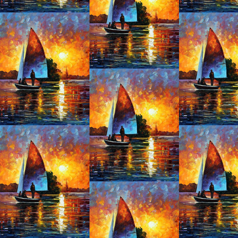 Sunset By The Lake fabric by afremov_designs on Spoonflower - custom fabric