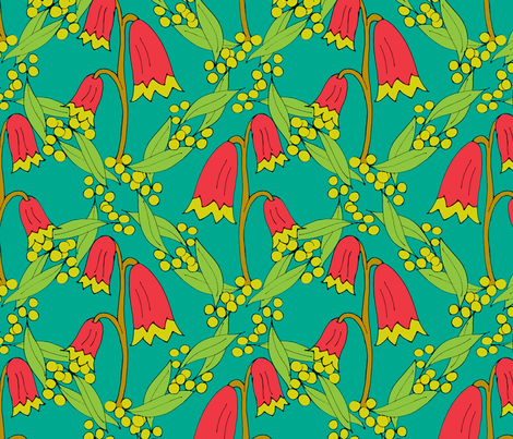 Christmas Bells and Golden Wattle fabric by rhondadesigns on Spoonflower - custom fabric
