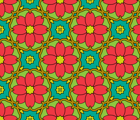 Flowers on the Vine - Red fabric by inscribed_here on Spoonflower - custom fabric