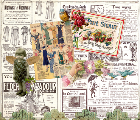 Vintage Advertising Collage fabric by peagreengirl on Spoonflower - custom fabric