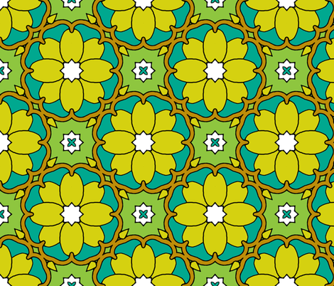 Flowers on the Vine - Yellow fabric by inscribed_here on Spoonflower - custom fabric