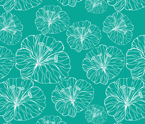blue_flowers_inwhite fabric by valentinaharper on Spoonflower - custom fabric