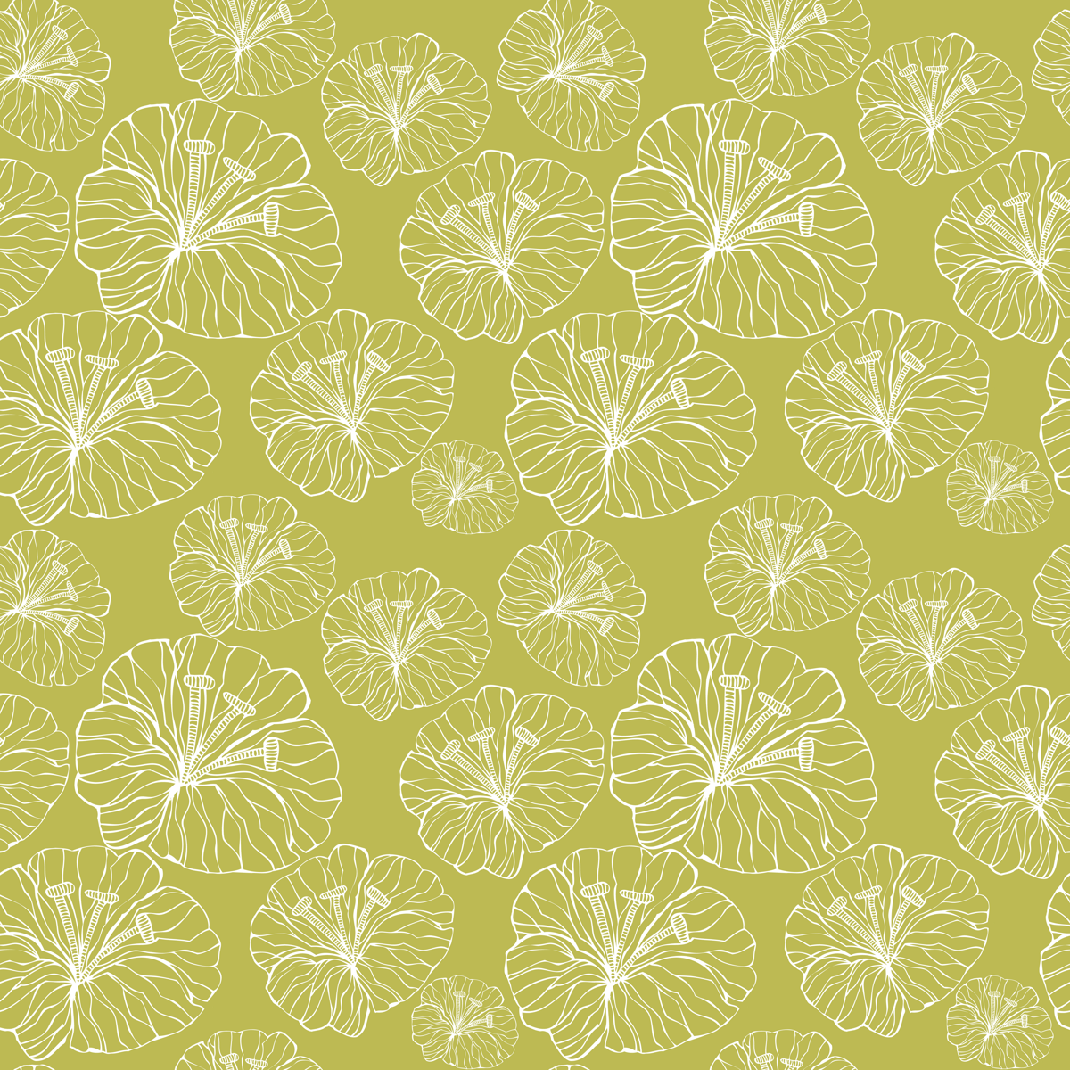 green_flowers_inwhite fabric by valentinaharper on Spoonflower - custom fabric