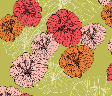 green_little_flowers fabric by valentinaharper on Spoonflower - custom fabric