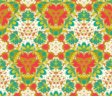Botanical Kaleidoscope - © Lucinda Wei fabric by lucindawei on Spoonflower - custom fabric