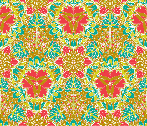 Botanical Kaleidoscope in Gold - © Lucinda Wei fabric by lucindawei on Spoonflower - custom fabric