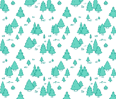 A Lot of Trees - Blues (white background) fabric by jesseesuem on Spoonflower - custom fabric
