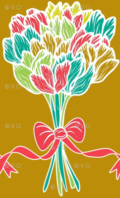 Ribbons and tulips from me to you