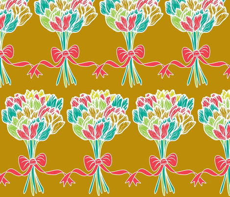 Ribbons and tulips from me to you fabric by vo_aka_virginiao on Spoonflower - custom fabric