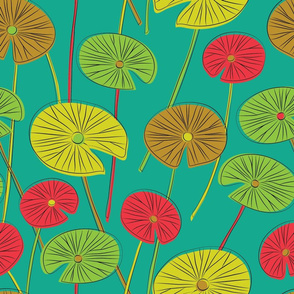 lotus leaves (teal)