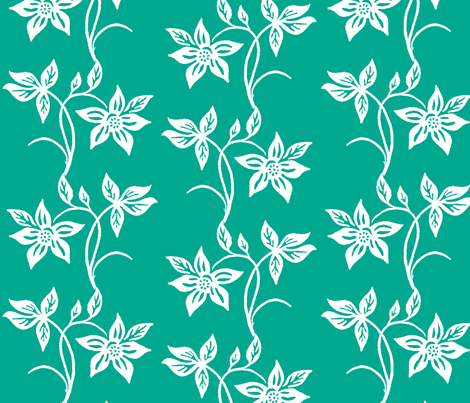Tjapflower-repeat-150-Green-white fabric by mina on Spoonflower - custom fabric
