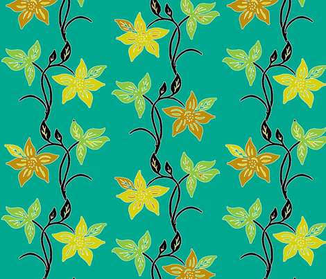 Tjapflower-repeat-150-colors-black-green fabric by mina on Spoonflower - custom fabric