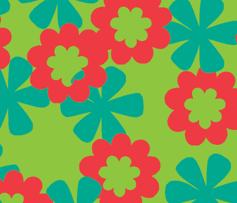 Two Flowers Brights-ed fabric by tomatojam on Spoonflower - custom fabric