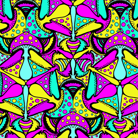 Magical Mushrooms, Bubblegum fabric by beth_snow on Spoonflower - custom fabric