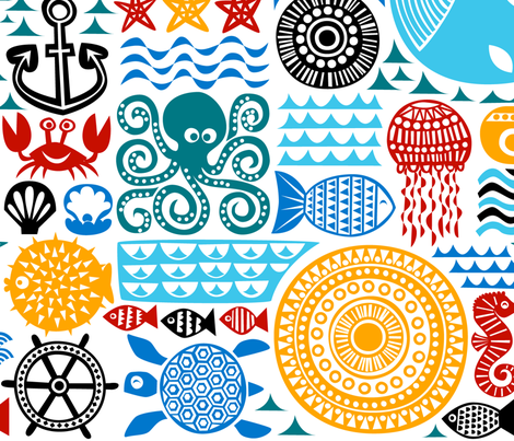 sea pattern fabric by dennisthebadger on Spoonflower - custom fabric
