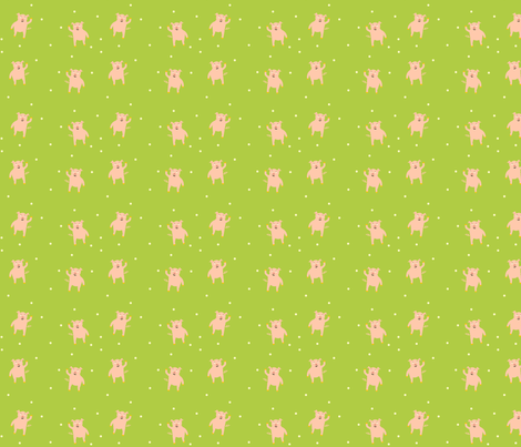 This Little Wow Pow Pig fabric by featheredneststudio on Spoonflower - custom fabric