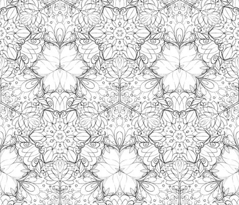 Botanical Kaleidoscope Sketch - © Lucinda Wei fabric by lucindawei on Spoonflower - custom fabric