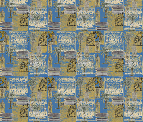 Slavery Toile-Blue and Gold fabric by kkitwana on Spoonflower - custom fabric