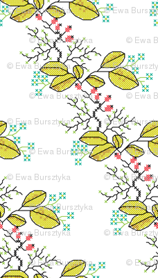 botanical cross stich pattern white